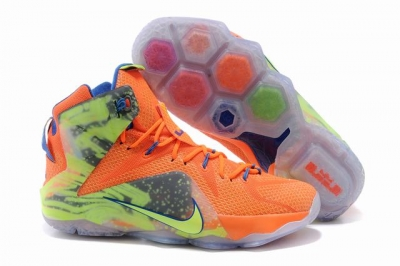 Nike Lebron James 12 Shoes Six Pulse Orange Green